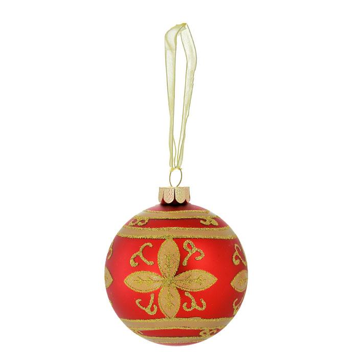 Новогоднее подвесное украшение Шар, цвет: красный, золотистый. 2635826358Новогоднее подвесное украшение «Шар» выполнено из стекла и декорировано золотистыми блестками. С помощью специальной ленты украшение можно повесить в любом понравившемся вам месте. Но, конечно, удачнее всего такой шар будет смотреться на праздничной елке. Елочная игрушка - символ Нового года. Она несет в себе волшебство и красоту праздника. Создайте в своем доме атмосферу веселья и радости, украшая новогоднюю елку нарядными игрушками, которые будут из года в год накапливать теплоту воспоминаний. Коллекция декоративных украшений из серии Magic Time принесет в ваш дом ни с чем несравнимое ощущение волшебства! Характеристики:Материал: стекло, металл, текстиль. Цвет: красный, золотистый. Диаметр игрушки: 8 см. Размер упаковки: 9,5 см х 9,5 см х 9 см. Артикул: 26358.