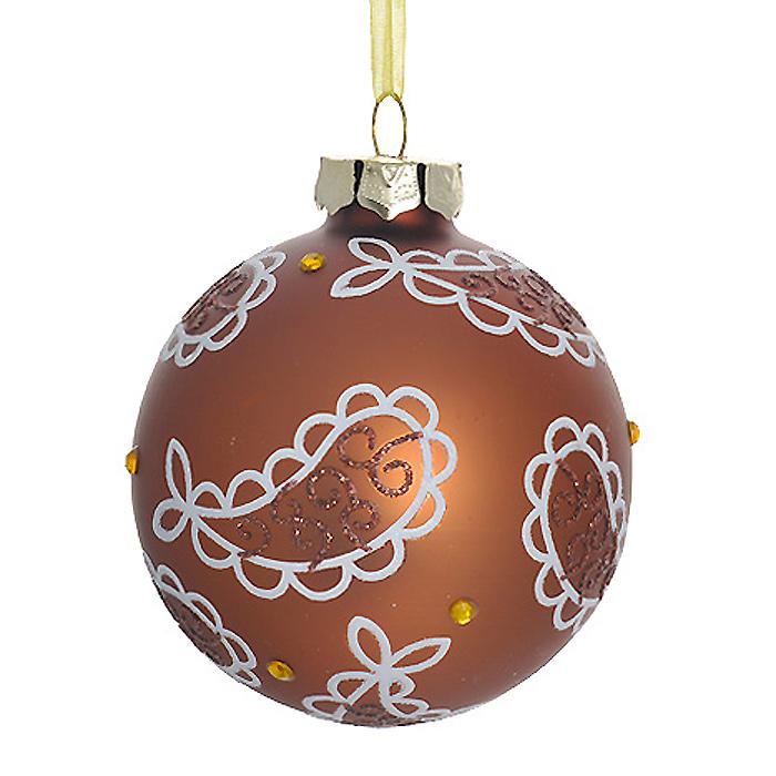 Новогоднее подвесное украшение Шар, цвет: бронзовый. 3051130511Новогоднее подвесное украшение «Шар» выполнено из стекла с покрытием бронзового цвета и декорировано узорами из блесток и стразами. С помощью специальной ленты украшение можно повесить в любом понравившемся вам месте. Но, конечно, удачнее всего такой шар будет смотреться на праздничной елке. Елочная игрушка - символ Нового года. Она несет в себе волшебство и красоту праздника. Создайте в своем доме атмосферу веселья и радости, украшая новогоднюю елку нарядными игрушками, которые будут из года в год накапливать теплоту воспоминаний.Коллекция декоративных украшений из серии Magic Time принесет в ваш дом ни с чем несравнимое ощущение волшебства! Характеристики:Материал: стекло, металл, текстиль. Цвет: бронзовый. Диаметр игрушки: 8 см. Размер упаковки: 9,5 см х 9,5 см х 9 см. Артикул: 30511.
