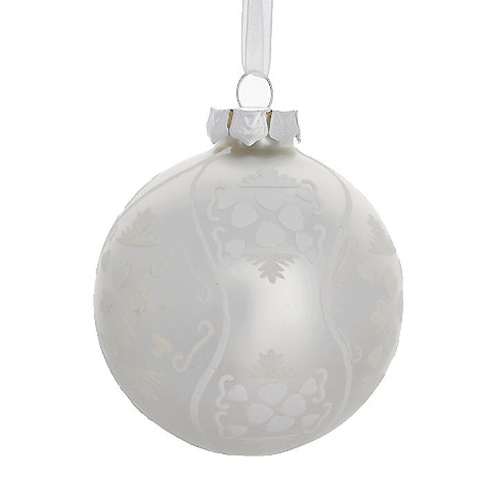 Новогоднее подвесное украшение Шар, цвет: жемчужный. 3050030500Новогоднее подвесное украшение «Шар» выполнено из стекла с жемчужным покрытием и декорировано узорами из блесток. С помощью специальной ленты украшение можно повесить в любом понравившемся вам месте. Но, конечно, удачнее всего такой шар будет смотреться на праздничной елке. Елочная игрушка - символ Нового года. Она несет в себе волшебство и красоту праздника. Создайте в своем доме атмосферу веселья и радости, украшая новогоднюю елку нарядными игрушками, которые будут из года в год накапливать теплоту воспоминаний. Коллекция декоративных украшений из серии Magic Time принесет в ваш дом ни с чем несравнимое ощущение волшебства! Характеристики:Материал: стекло, металл, текстиль. Цвет: жемчужный. Диаметр игрушки: 8 см. Размер упаковки: 9,5 см х 9,5 см х 9 см. Артикул: 30500.