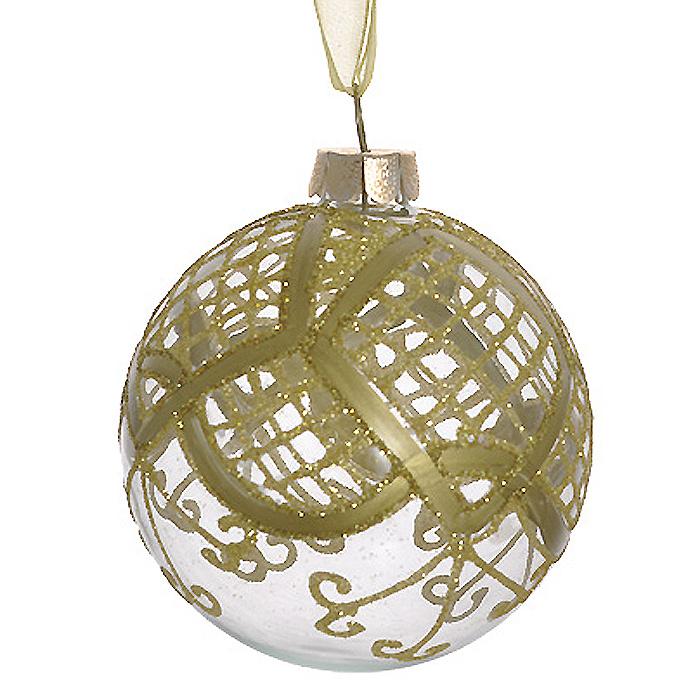 Новогоднее подвесное украшение Шар, цвет: прозрачный, золотистый. 2635026350Новогоднее подвесное украшение «Шар» выполнено из прозрачного стекла и декорировано золотистыми блестками. С помощью специальной ленты украшение можно повесить в любом понравившемся вам месте. Но, конечно, удачнее всего такой шар будет смотреться на праздничной елке. Елочная игрушка - символ Нового года. Она несет в себе волшебство и красоту праздника. Создайте в своем доме атмосферу веселья и радости, украшая новогоднюю елку нарядными игрушками, которые будут из года в год накапливать теплоту воспоминаний. Коллекция декоративных украшений из серии Magic Time принесет в ваш дом ни с чем несравнимое ощущение волшебства! Характеристики:Материал: стекло, металл, текстиль. Цвет: прозрачный, золотистый. Диаметр игрушки: 8 см. Размер упаковки: 9,5 см х 9,5 см х 9 см. Артикул: 26350.
