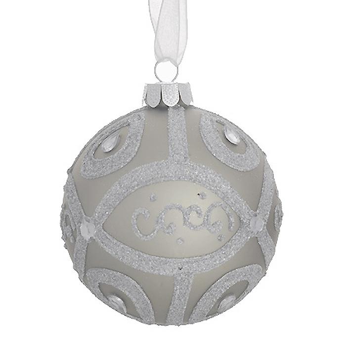 Новогоднее подвесное украшение Шар, цвет: серо-серебристый. 2633326333Новогоднее подвесное украшение «Шар» выполнено из стекла с серо-серебристым покрытием и декорировано блестками и стразами. С помощью специальной ленты украшение можно повесить в любом понравившемся вам месте. Но, конечно, удачнее всего такой шар будет смотреться на праздничной елке. Елочная игрушка - символ Нового года. Она несет в себе волшебство и красоту праздника. Создайте в своем доме атмосферу веселья и радости, украшая новогоднюю елку нарядными игрушками, которые будут из года в год накапливать теплоту воспоминаний. Коллекция декоративных украшений из серии Magic Time принесет в ваш дом ни с чем несравнимое ощущение волшебства! Характеристики:Материал: стекло, металл, текстиль. Цвет: серо-серебристый. Диаметр игрушки: 8 см. Размер упаковки: 9,5 см х 9,5 см х 9 см. Артикул: 26333.