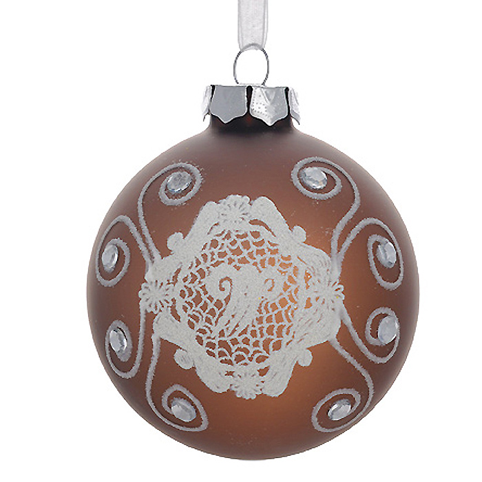Новогоднее подвесное украшение Шар, цвет: бронзовый. 3053030530Новогоднее подвесное украшение «Шар» выполнено из стекла с покрытием бронзового цвета и декорировано узорами из блесток и стразами. С помощью специальной ленты украшение можно повесить в любом понравившемся вам месте. Но, конечно, удачнее всего такой шар будет смотреться на праздничной елке. Елочная игрушка - символ Нового года. Она несет в себе волшебство и красоту праздника. Создайте в своем доме атмосферу веселья и радости, украшая новогоднюю елку нарядными игрушками, которые будут из года в год накапливать теплоту воспоминаний. Коллекция декоративных украшений из серии Magic Time принесет в ваш дом ни с чем несравнимое ощущение волшебства! Характеристики:Материал: стекло, металл, текстиль. Цвет: бронзовый. Диаметр игрушки: 8 см. Размер упаковки: 9,5 см х 9,5 см х 9 см. Артикул: 30530.