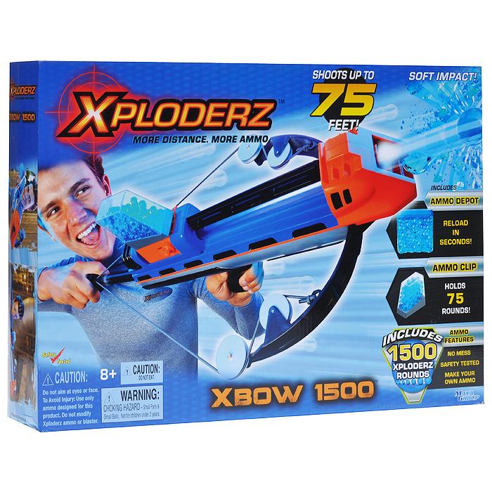 Бластер  XPloderz X Арбалет 1500, с пульками, цвет: черный, синий, оранжевый, серебристый игрушечное оружие xploderz x буря 1000