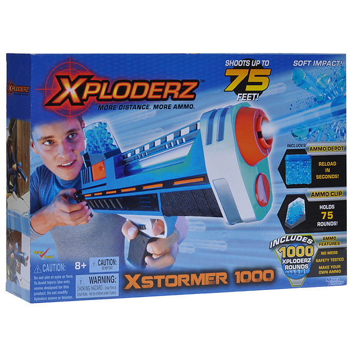 Бластер  XPloderz X Буря 1000, с пульками, цвет: черный, синий, оранжевый, серебристый игрушечное оружие xploderz x буря 1000