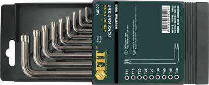 Набор ключей звездочкой FIT, 9 шт, Т10-Т5064022Набор FIT состоит из девяти ключей различного размера. Каждый предмет изготовлен из термообработанной хром-ванадиевой стали, что обеспечивает долгий срок службы набора. Для удобства хранения ключей предусмотрен пластиковый пенал.В состав набора входят ключи: T10; T15; T20; T25; T27; T30; Т40; Т45; Т50. Характеристики: Материал: сталь, пластик. Размер пенала: 15 см x 9 см x 1,5 см. Размер упаковки: 15 см x 9 см x 1,5 см.