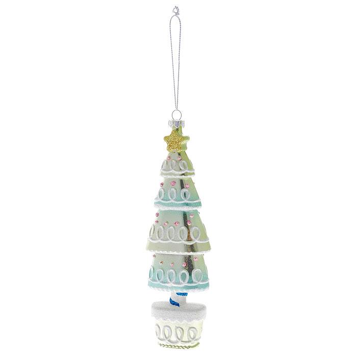 """Оригинальное новогоднее украшение выполнено из пластика в виде нарядной елочки, украшенной блестками. С помощью специальной петельки украшение можно повесить в любом понравившемся вам месте. Но, конечно же, удачнее всего такая игрушка будет смотреться на праздничной елке.    Новогодние украшения приносят в дом волшебство и ощущение праздника. Создайте в своем доме атмосферу веселья и радости, украшая всей семьей новогоднюю елку нарядными игрушками, которые будут из года в год накапливать теплоту воспоминаний.  Коллекция декоративных украшений из серии """"Magic Time"""" принесет в ваш дом ни с чем несравнимое ощущение волшебства! Характеристики:  Материал: пластик, текстиль. Цвет: зеленый. Размер украшения: 17 см х 5,5 см х 3 см. Артикул: 25905."""