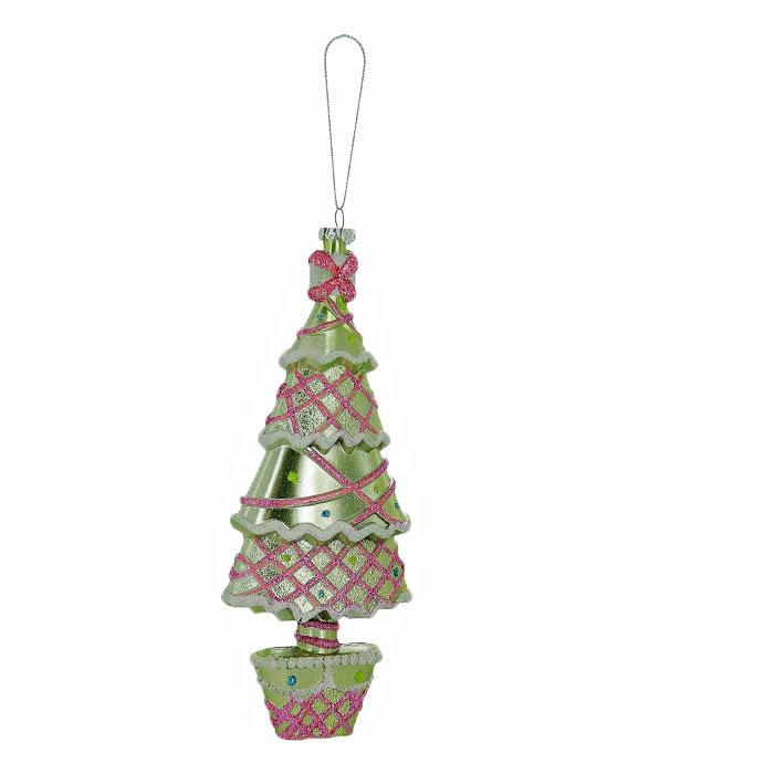 Новогоднее подвесное украшение Елка, цвет: зеленый, розовый. 2590725907Оригинальное новогоднее украшение выполнено из пластика в виде нарядной елочки, украшенной блестками. С помощью специальной петельки украшение можно повесить в любом понравившемся вам месте. Но, конечно же, удачнее всего такая игрушка будет смотреться на праздничной елке.Новогодние украшения приносят в дом волшебство и ощущение праздника. Создайте в своем доме атмосферу веселья и радости, украшая всей семьей новогоднюю елку нарядными игрушками, которые будут из года в год накапливать теплоту воспоминаний. Коллекция декоративных украшений из серии Magic Time принесет в ваш дом ни с чем несравнимое ощущение волшебства! Характеристики:Материал: пластик, текстиль. Цвет: зеленый, розовый. Размер украшения: 17 см х 7 см х 3 см. Артикул: 25907.