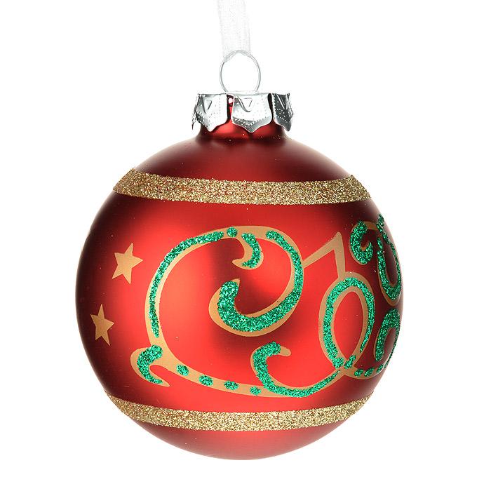 Новогоднее подвесное украшение Шар, цвет: красный. 3052130521Подвесное украшение «Шар» прекрасно подойдет для праздничного декора новогодней ели. Украшение выполнено из стекла и оформлено блестками. Шар оснащен текстильной ленточкой белого цвета.Елочная игрушка - символ Нового года. Она несет в себе волшебство и красоту праздника. Создайте в своем доме атмосферу веселья и радости, украшая новогоднюю елку нарядными игрушками, которые будут из года в год накапливать теплоту воспоминаний.Коллекция декоративных украшений из серии Magic Time принесет в ваш дом ни с чем несравнимое ощущение волшебства! Характеристики:Материал: стекло, текстиль, блестки. Цвет: красный. Диаметр украшения: 8 см. Размер упаковки: 9,5 см х 9,5 см х 9 см. Артикул: 30521.
