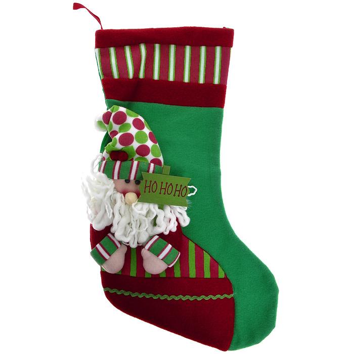 Новогоднее подвесное украшение Чулок, цвет: зеленый. 2556925569Новогоднее украшение Чулок отлично подойдет для декорации вашего дома. Украшение выполнено из полиэстера в виде яркого чулка для подарков и оформлено аппликацией с изображением Деда Мороза. В руках у него табличка с надписью Но-но-но.Вы можете подвесить его в любом месте, где оно будет удачно смотреться, и радовать глаз. Кроме того, это украшение - отличный вариант подарка для ваших близких и друзей. Новогодние украшения всегда несут в себе волшебство и красоту праздника. Создайте в своем доме атмосферу тепла, веселья и радости, украшая его всей семьей. Характеристики:Материал:полиэстер, дерево. Размер чулка:26,5 см х 45 см х 0,5 см. Размер упаковки: 37 см х 26 см х 1 см. Артикул: 25569.