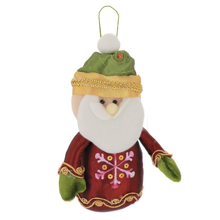 Новогоднее подвесное украшение Санта-Клаус, цвет: бордовый, зеленый. 2654026540Подвесное украшение Санта-Клаус выполнено из полиэстера и декорировано пайетками, вышивкой и золотистой тесьмой. С помощью специальной петельки украшение можно повесить в любом понравившемся вам месте. Но, конечно, удачнее всего такая игрушка будет смотреться на праздничной елке.Забавный Санта порадует ваших близких и друзей, создаст в доме веселую новогоднюю атмосферу! Характеристики:Материал:полиэстер. Цвет:бордовый, зеленый. Размер украшения: 11 см х 18 см х 5 см. Размер упаковки: 20 см х 13 см х 5 см. Артикул: 26540.