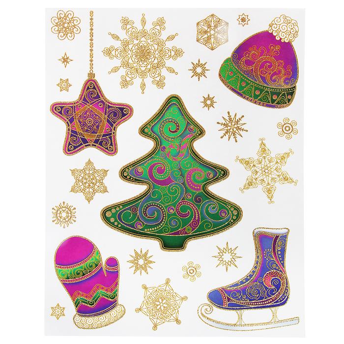 Новогоднее оконное украшение Зима. 3127631276Новогоднее оконное украшение Зима поможет украсить дом к предстоящим праздникам. Яркие изображения в виде елочки и снежинок нанесены на прозрачную клейкую пленку. Рисунки декорированы золотистыми блестками. С помощью этих украшений вы сможете оживить интерьер по своему вкусу: наклеить их на окно, на зеркало или на дверь.Новогодние украшения всегда несут в себе волшебство и красоту праздника. Создайте в своем доме атмосферу тепла, веселья и радости, украшая его всей семьей.Коллекция декоративных украшений из серии Magic Time принесет в ваш дом ни с чем не сравнимое ощущение волшебства! Характеристики:Материал:пленка ПВХ, глиттер. Размер листа:30 см х 38 см. Размер наибольшей наклейки:19 см х 17 см. Размер наименьшей наклейки:3 см х 2,5 см. Изготовитель:Тайвань. Артикул:31276.