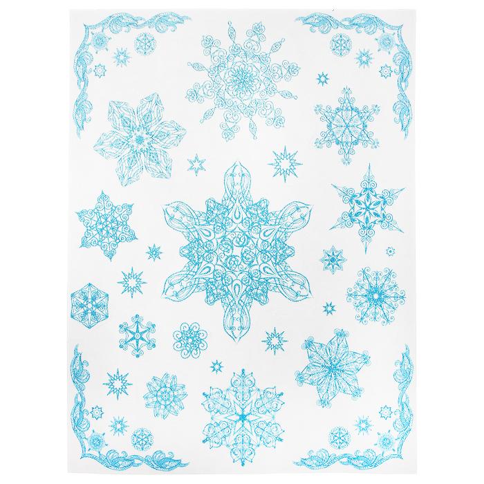 """Новогоднее оконное украшение """"Снежинки"""" поможет украсить дом к предстоящим праздникам. Яркие изображения в виде снежинок нанесены на прозрачную клейкую пленку. Рисунки декорированы голубыми блестками. С помощью этих украшений вы сможете оживить интерьер по своему вкусу: наклеить их на окно, на зеркало или на дверь. Новогодние украшения всегда несут в себе волшебство и красоту праздника. Создайте в своем доме атмосферу тепла, веселья и радости, украшая его всей семьей.    Коллекция декоративных украшений из серии """"Magic Time"""" принесет в ваш дом ни с чем не сравнимое ощущение волшебства! Характеристики:  Материал:  пленка ПВХ, глиттер. Размер листа:  30 см х 38 см. Размер наибольшей наклейки:  16 см х 13,5 см. Размер наименьшей наклейки:  2 см х 2 см. Изготовитель:  Тайвань. Артикул:  31244."""