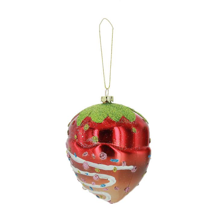 Новогоднее подвесное украшение Клубника. 2590825908Новогоднее украшение Клубника отлично подойдет для декорации вашего дома и новогодней ели. Украшение выполнено из пластика в виде клубнички, украшенной блестками. Елочная игрушка - символ Нового года. Она несет в себе волшебство и красоту праздника. Создайте в своем доме атмосферу веселья и радости, украшая всей семьей новогоднюю елку нарядными игрушками, которые будут из года в год накапливать теплоту воспоминаний. Характеристики:Материал:пластик. Цвет:красный, желтый, зеленый. Размер:11 см х 8 см х 8 см. Артикул:25908.