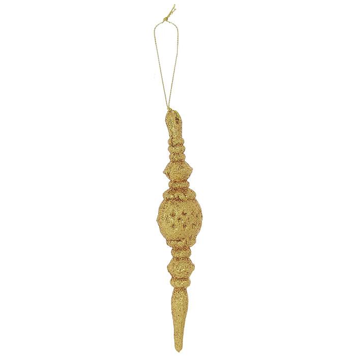 Подвесное украшение Орнамент, цвет: золотистый26046Легкое, прочное и красивое подвесное украшение Орнамент, выполненное из пластика и покрытое мелкими золотыми блестками, дополнит любой интерьер.Его можно подвесить на шторы, тюль, люстру или использовать как елочную игрушку. Создайте праздничное настроение своим близким! Характеристики:Материал:пластик, блестки. Размер украшения: 4 см х 16 см х 2 см. Размер упаковки: 22,5 см х 15,5 см х 2 см. Изготовитель: Китай. Артикул: 26046.