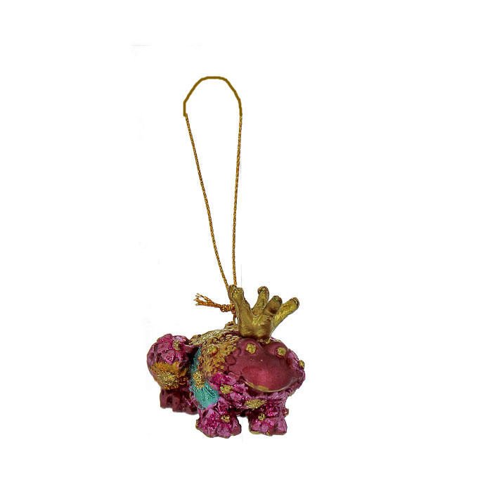 Новогоднее подвесное украшение Лягушка, цвет: золотистый, бирюзовый, розовый. 25430