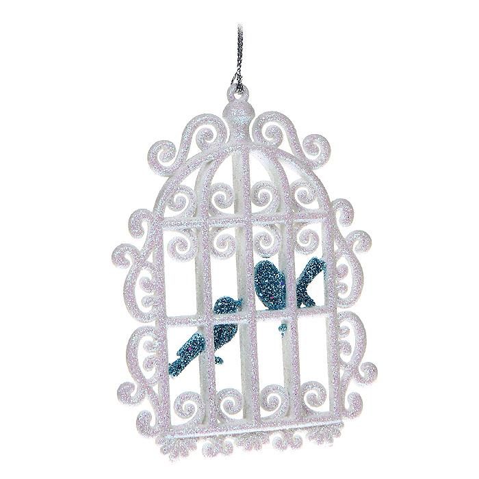 Новогоднее подвесное украшение Клетка с птичками, цвет: белый. 3071630716Новогоднее украшение Клетка с птичками отлично подойдет для декорации вашего дома и новогодней ели. Игрушка сделана из пластика в виде клетки с птичками, декорированного блестками. Елочная игрушка - символ Нового года. Она несет в себе волшебство и красоту праздника. Создайте в своем доме атмосферу веселья и радости, украшая всей семьей новогоднюю елку нарядными игрушками, которые будут из года в год накапливать теплоту воспоминаний. Характеристики: Материал: пластик. Размер украшения: 11 см х 9 см х 0,5 см. Цвет: белый. Артикул: 30716. Производитель: Китай.