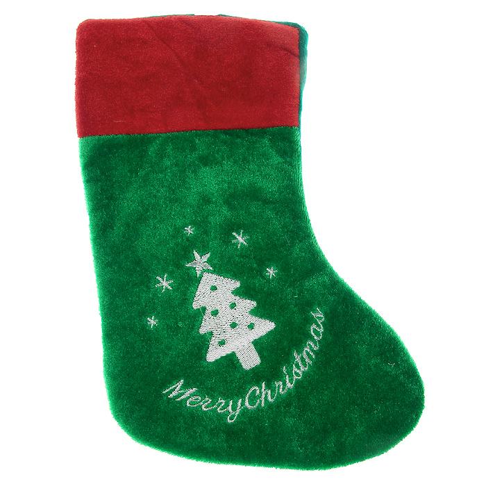 Новогоднее подвесное украшение Носок, цвет: зеленый, красный. 3208832088Новогоднее украшение Носок отлично подойдет для декорации вашего дома. Украшение выполнено из полиэстера в виде носка для подарков и оформлено изображением в виде елочки.Вы можете подвесить его в любом месте, где оно будет удачно смотреться, и радовать глаз. Кроме того, это украшение - отличный вариант подарка для ваших близких и друзей. Новогодние украшения всегда несут в себе волшебство и красоту праздника. Создайте в своем доме атмосферу тепла, веселья и радости, украшая его всей семьей. Характеристики:Материал: полиэстер. Размер носка: 25 см х 17,5 см х 1 см. Размер упаковки: 30 см х 19 см х 1,5 см. Артикул: 32088.
