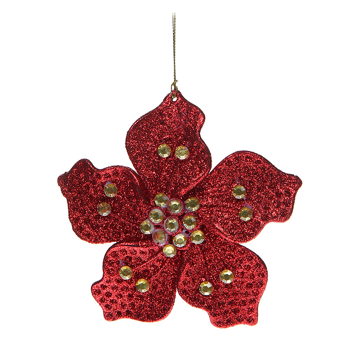Новогоднее подвесное украшение Цветочек, цвет: красный. 3064630646Новогоднее украшение Цветочек отлично подойдет для декорации вашего дома и новогодней ели. Игрушка сделана из пластика в виде цветочка, декорированного блестками и стразами. Елочная игрушка - символ Нового года. Она несет в себе волшебство и красоту праздника. Создайте в своем доме атмосферу веселья и радости, украшая всей семьей новогоднюю елку нарядными игрушками, которые будут из года в год накапливать теплоту воспоминаний. Характеристики: Материал: пластик, стразы. Размер украшения: 14 см х 14 см х 0,5 см. Цвет: красный. Артикул: 30646. Производитель: Китай.
