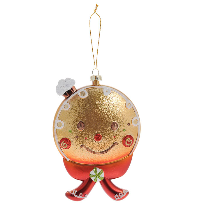 Новогоднее подвесное украшение Колобок. 2589125891Оригинальное новогоднее украшение Колобок прекрасно подойдет для оформления дома и праздничной ели. Изделие выполнено из пластика и украшено блестками. С помощью текстильной петельки его можно повесить в любом понравившемся вам месте. Но, конечно, удачнее всего такая игрушка будет смотреться на праздничной елке. Елочная игрушка - символ Нового года. Она несет в себе волшебство и красоту праздника. Создайте в своем доме атмосферу веселья и радости, украшая новогоднюю елку нарядными игрушками, которые будут из года в год накапливать теплоту воспоминаний. Коллекция декоративных украшений из серии Magic Time принесет в ваш дом ни с чем несравнимое ощущение волшебства! Характеристики:Материал: пластик, текстиль, блестки. Размер украшения (ДхШхВ): 9,5 см х 2 см х 14,5 см. Артикул: 25891.