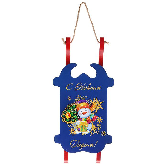Новогоднее подвесное украшение Санки. 32367 украшение новогоднее подвесное lovemark колокол цвет золотой красный высота 12 см
