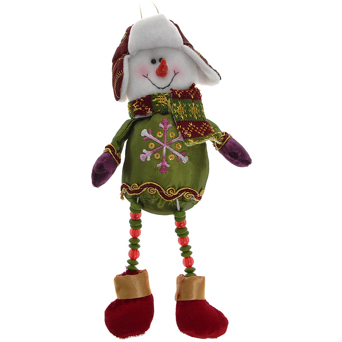 """Новогоднее подвесное украшение """"Снеговик"""" отлично подойдет для декорации вашего дома. Украшение выполнено из полиэстера в виде фигурки снеговика в шапке-ушанке и шарфике. Снеговик на длинных ногах, украшенных бусинами.  Вы можете повесить фигурку в любом месте, где она будет удачно смотреться, и радовать глаз. Кроме того, это украшение - отличный вариант подарка для ваших близких и друзей.   Новогодние украшения всегда несут в себе волшебство и красоту праздника. Создайте в своем доме атмосферу тепла, веселья и радости, украшая его всей семьей. Характеристики:  Материал: полиэстер, пластик. Размер украшения: 27 см х 11 см х 5 см. Размер упаковки: 23 см х 14 см х 5 см. Артикул: 26539."""