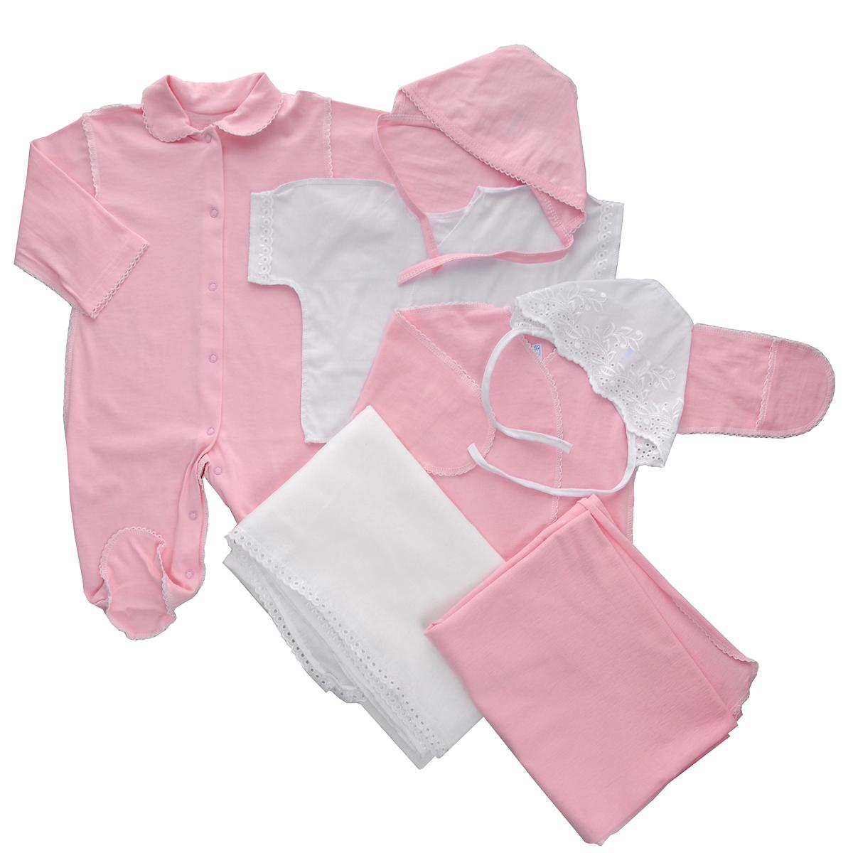 Комплект для новорожденного Трон-Плюс, 7 предметов, цвет: белый, розовый. 3472. Размер 56, 1 месяц3472Комплект для новорожденного Трон-плюс - это замечательный подарок, который прекрасно подойдет для первых дней жизни малыша. Комплект состоит из комбинезона, двух распашонок, двух чепчиков и двух пеленок. Комплект изготовлен из натурального хлопка, благодаря чему он необычайно мягкий и приятный на ощупь, не сковывает движения младенца и позволяет коже дышать, не раздражает даже самую нежную и чувствительную кожу ребенка, обеспечивая ему наибольший комфорт. Легкая распашонка с короткими рукавами выполнена швами наружу. Изделие украшено вышивкой, а рукава декорированы ажурными рюшами.Распашонка с длинными рукавами и с запахом выполнена швами наружу. Оформлено изделие ажурными петельками. Рукава дополнены рукавичками, которые обеспечат вашему малышу комфорт во время сна и бодрствования, предохраняя нежную кожу новорожденного от расцарапывания. Рукавички можно завернуть. Чепчик защищает еще не заросший родничок, щадит чувствительный слух малыша, прикрывая ушки, и предохраняет от теплопотерь. Комплект содержит два чепчика: один - легкий мягкий чепчик с завязками выполнен швами наружу и украшен вышивками, а второй - легкий мягкий чепчик также выполнен швами наружу и украшен ажурными рюшами. Очаровательный комбинезон с длинными рукавами, закрытыми ножками и отложным воротничком имеет застежки-кнопки по всей длине и на ластовице, которые помогают с легкостью переодеть ребенка или сменить подгузник. Комбинезон выполнен швами наружу и украшен ажурными петельками. Пеленка станет незаменимым помощником в деле ухода за ребенком. В комплект входят две пеленки, одна из которых украшена вышивкой и ажурными рюшами, а другая - ажурными петельками. В таком комплекте ваш малыш будет чувствовать себя комфортно, уютно и всегда будет в центре внимания!