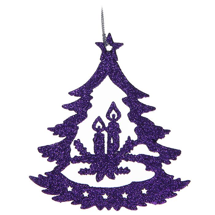 Новогоднее подвесное украшение Елочка, цвет: фиолетовый. 3058330583Новогоднее украшение Елочка отлично подойдет для декорации вашего дома и новогодней ели. Игрушка сделана из пластика в виде елочной игрушки, декорированной блестками. Елочная игрушка - символ Нового года. Она несет в себе волшебство и красоту праздника. Создайте в своем доме атмосферу веселья и радости, украшая всей семьей новогоднюю елку нарядными игрушками, которые будут из года в год накапливать теплоту воспоминаний. Характеристики: Материал: пластик. Размер украшения: 11,5 см х 12 см х 0,3 см. Цвет: фиолетовый. Артикул: 30583. Производитель: Китай.