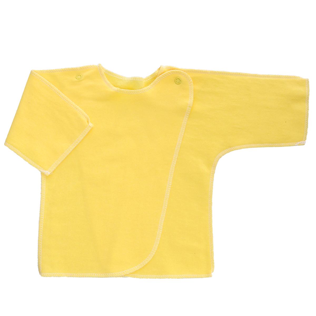 Распашонка Трон-Плюс, цвет: желтый. 5022. Размер 50, 0-1 месяц5022Распашонка Трон-плюс послужит идеальным дополнением к гардеробу младенца. Распашонка с рукавами-кимоно, выполненная швами наружу, изготовлена из футера - натурального хлопка, благодаря чему она необычайно мягкая и легкая, не раздражает нежную кожу ребенка и хорошо вентилируется, а эластичные швы приятны телу малыша и не препятствуют его движениям. Распашонка с запахом, застегивается при помощи двух кнопок на плечах, которые позволяют без труда переодеть ребенка. Распашонка полностью соответствует особенностям жизни ребенка в ранний период, не стесняя и не ограничивая его в движениях.