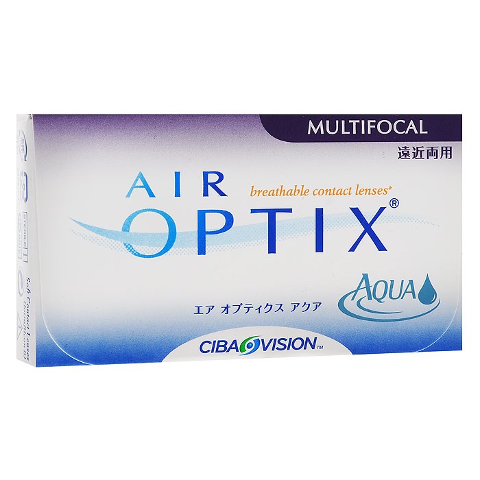 Alcon-CIBA Vision контактные линзы Air Optix Aqua Multifocal (3шт / 8.6 / 14.2 / -3.75 / High)31091Контактные линзы Air Optix Aqua Multifocal предназначены для коррекции возрастной дальнозоркости. Если для работы вблизи или просто для чтения вам необходимо использовать очки, то эти линзы помогут вам избавиться от них. В линзах Air Optix Aqua Multifocal вы будете одинаково четко видеть как предметы, расположенные вблизи, так и удаленные предметы. Линзы изготовлены из силикон-гидрогелевого материала лотрафилкон Б, который пропускает в 5 раз больше кислорода по сравнению с обычными гидрогелевыми линзами. Они настолько комфортны и безопасны в ношении, что вы можете не снимать их до 6 суток. Но даже если вы не собираетесь окончательно сменить очки на линзы, мы рекомендуем вам иметь хотя бы одну пару таких линз для экстремальных ситуаций, например для занятий спортом. Контактные линзы Air Optix Aqua Multifocal имеют три степени аддидации: Low (низкую) до +1.00; Medium (среднюю) от +1.25 до +2.00 и High (высокую) свыше +2.00. Характеристики:Материал: лотрафилкон Б. Кривизна: 8.6. Оптическая сила: - 3.75. Содержание воды: 33%. Диаметр: 14,2 мм. Cтепень аддидации: High (высокая). Количество линз: 3 шт. Размер упаковки: 9 см х 5 см х 1 см. Производитель: Малайзия. Товар сертифицирован.Контактные линзы или очки: советы офтальмологов. Статья OZON Гид