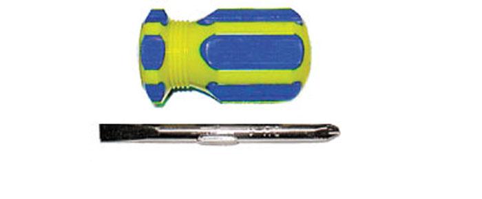 Отвертка с переставным жалом CrV коротыш, сине-желтая ручка 6 x 32 мм56212Отвертка FIT предназначена для монтажа/демонтажа резьбовых соединений с применением значительных усилий. Пластмассовая рукоятка устойчива к различным смазочным материалам. Отвертка имеет крестовое жало PH2 и плоское жало SL6. Характеристики: Материал: пластик, металл. Длина отвертки: 8 см. Длина ручки: 5 см. Жало:PH2, SL6.Размер упаковки:13 см х 6 см х 3 см. Артикул:56212.