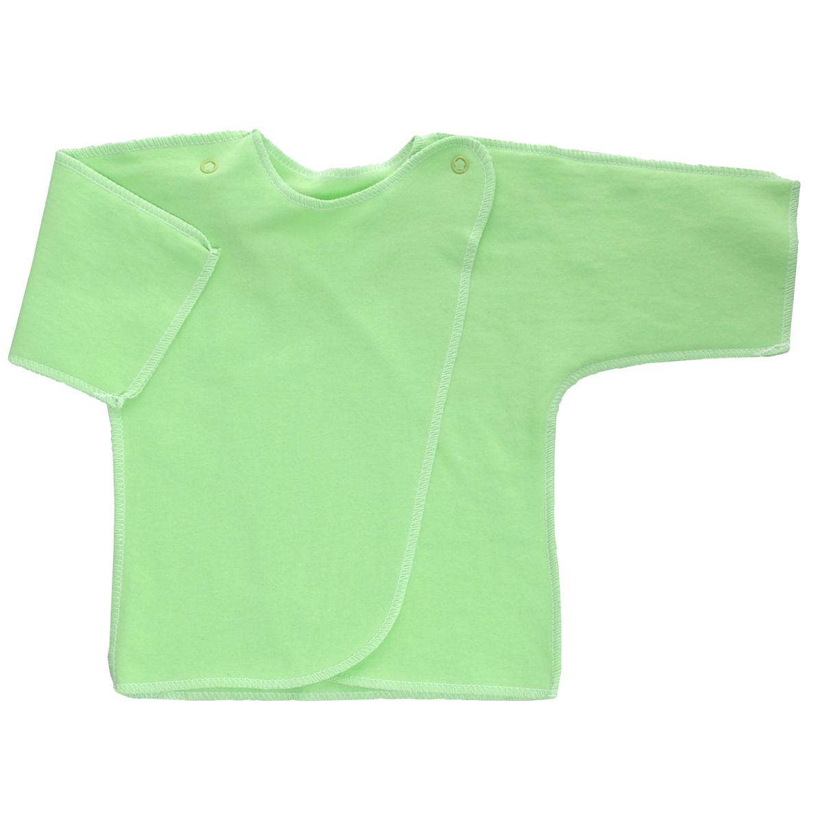 Распашонка Трон-Плюс, цвет: салатовый. 5022. Размер 62, 3 месяца5022Распашонка Трон-плюс послужит идеальным дополнением к гардеробу младенца. Распашонка с рукавами-кимоно, выполненная швами наружу, изготовлена из футера - натурального хлопка, благодаря чему она необычайно мягкая и легкая, не раздражает нежную кожу ребенка и хорошо вентилируется, а эластичные швы приятны телу малыша и не препятствуют его движениям. Распашонка с запахом, застегивается при помощи двух кнопок на плечах, которые позволяют без труда переодеть ребенка. Распашонка полностью соответствует особенностям жизни ребенка в ранний период, не стесняя и не ограничивая его в движениях.