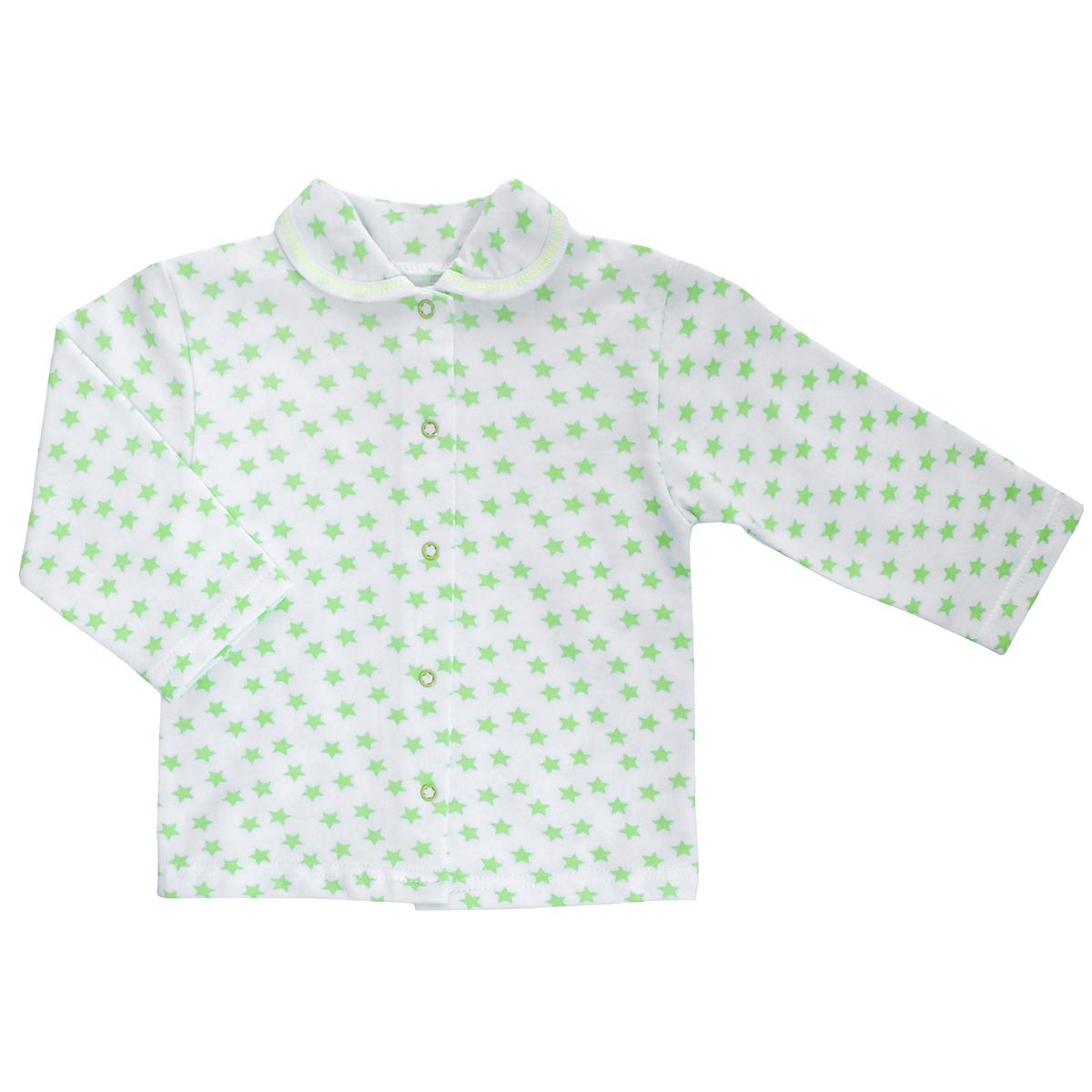 Кофточка детская Трон-Плюс, цвет: белый, салатовый, рисунок звезды. 5175. Размер 62, 3 месяца5175Кофточка для новорожденного Трон-плюс с длинными рукавами послужит идеальным дополнением к гардеробу вашего малыша, обеспечивая ему наибольший комфорт. Изготовленная из футерованного полотна - натурального хлопка, она необычайно мягкая и легкая, не раздражает нежную кожу ребенка и хорошо вентилируется, а эластичные швы приятны телу малыша и не препятствуют его движениям. Удобные застежки-кнопки по всей длине помогают легко переодеть младенца. Модель дополнена отложным воротником.Кофточка полностью соответствует особенностям жизни ребенка в ранний период, не стесняя и не ограничивая его в движениях.