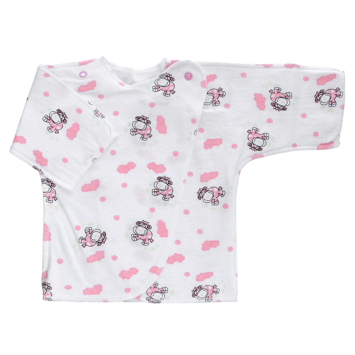 Распашонка Трон-Плюс, цвет: белый, розовый, рисунок коровы. 5022. Размер 50, 0-1 месяц5022Распашонка Трон-плюс послужит идеальным дополнением к гардеробу младенца. Распашонка с рукавами-кимоно, выполненная швами наружу, изготовлена из футера - натурального хлопка, благодаря чему она необычайно мягкая и легкая, не раздражает нежную кожу ребенка и хорошо вентилируется, а эластичные швы приятны телу малыша и не препятствуют его движениям. Распашонка с запахом, застегивается при помощи двух кнопок на плечах, которые позволяют без труда переодеть ребенка. Распашонка полностью соответствует особенностям жизни ребенка в ранний период, не стесняя и не ограничивая его в движениях.