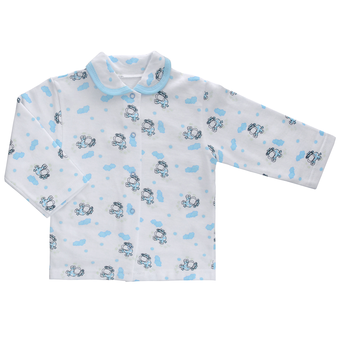 Кофточка детская Трон-Плюс, цвет: белый, голубой, рисунок коровы. 5175. Размер 86, 18 месяцев пижама детская трон плюс цвет белый голубой 5555 мишка размер 80 86 1 2 года