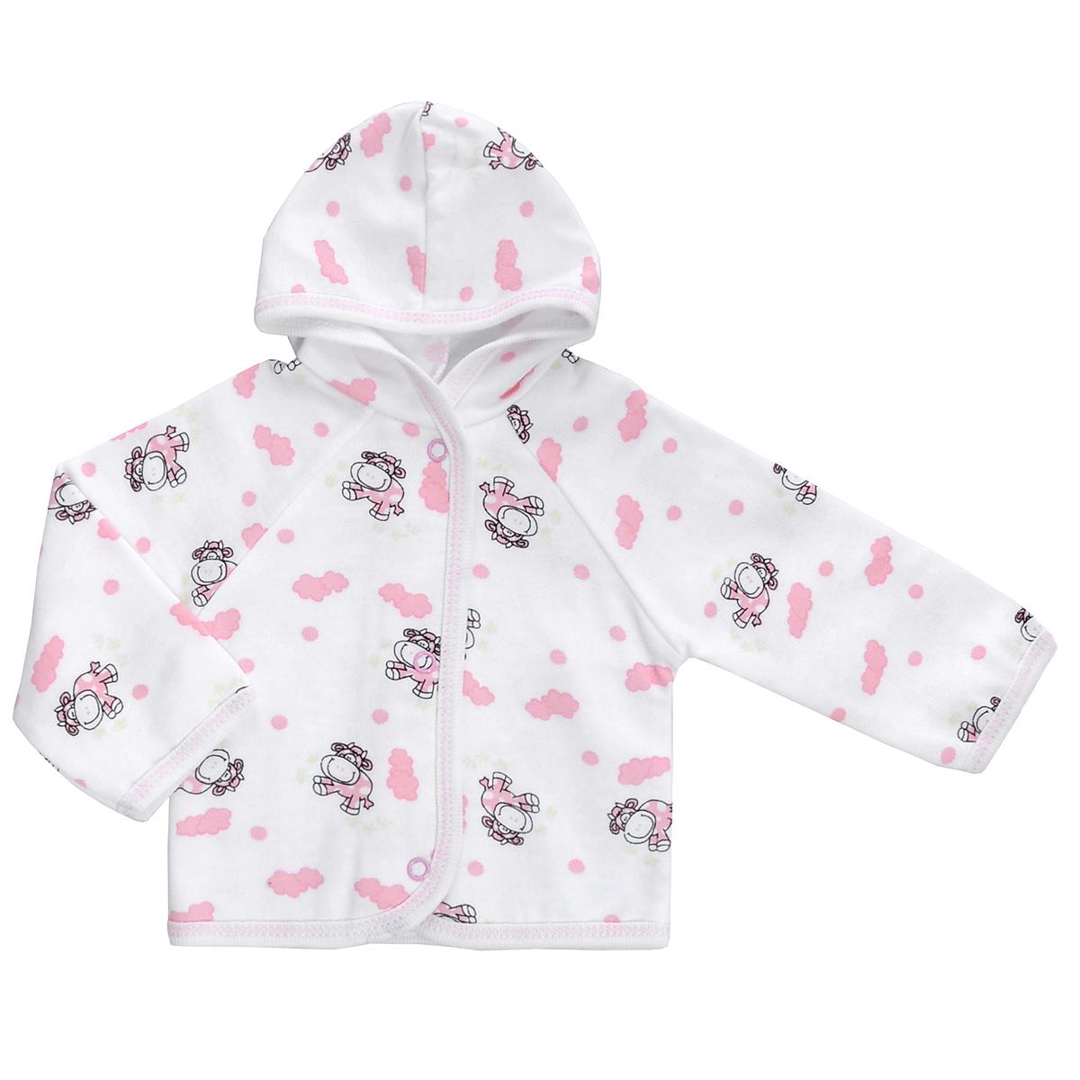 Кофточка детская Трон-плюс, цвет: белый, розовый, рисунок коровы. 5172. Размер 68, 6 месяцев5172Теплая кофточка Трон-плюс идеально подойдет вашему младенцу и станет идеальным дополнением к гардеробу вашего ребенка, обеспечивая ему наибольший комфорт. Изготовленная из футера - натурального хлопка, она необычайно мягкая и легкая, не раздражает нежную кожу ребенка и хорошо вентилируется, а эластичные швы приятны телу малыша и не препятствуют его движениям. Удобные застежки-кнопки по всей длине помогают легко переодеть младенца. Модель с длинными рукавами-реглан дополнена капюшоном. По краям кофточка обработана бейкой и украшена оригинальным принтом.Кофточка полностью соответствует особенностям жизни ребенка в ранний период, не стесняя и не ограничивая его в движениях.