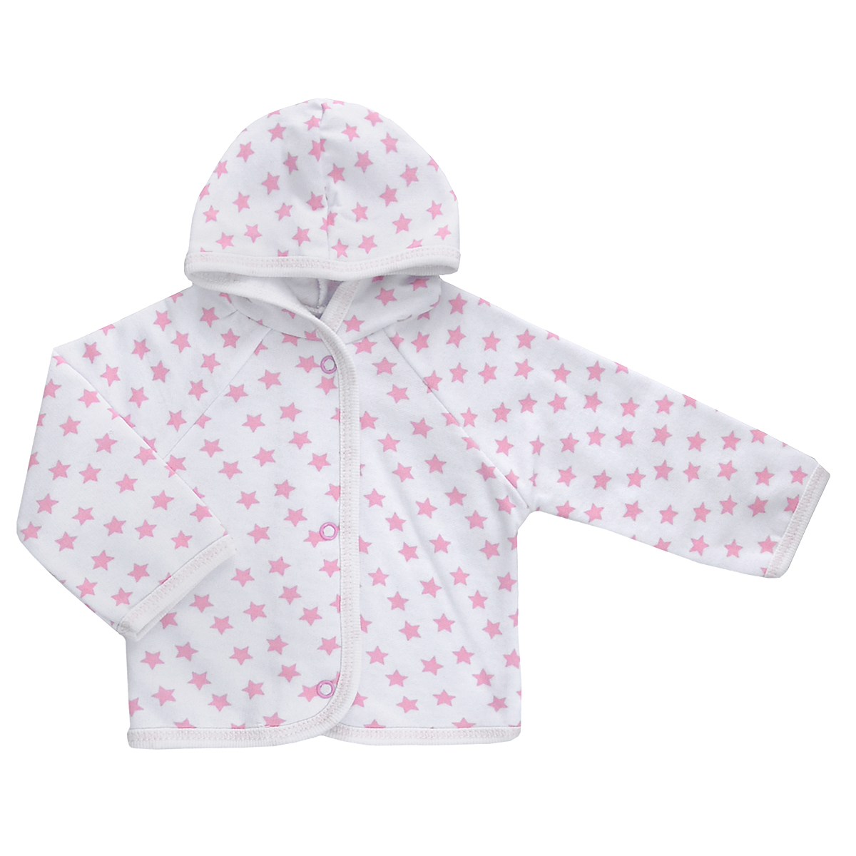 Кофточка детская Трон-плюс, цвет: белый, розовый, рисунок звезды. 5172. Размер 68, 6 месяцев5172Теплая кофточка Трон-плюс идеально подойдет вашему младенцу и станет идеальным дополнением к гардеробу вашего ребенка, обеспечивая ему наибольший комфорт. Изготовленная из футера - натурального хлопка, она необычайно мягкая и легкая, не раздражает нежную кожу ребенка и хорошо вентилируется, а эластичные швы приятны телу малыша и не препятствуют его движениям. Удобные застежки-кнопки по всей длине помогают легко переодеть младенца. Модель с длинными рукавами-реглан дополнена капюшоном. По краям кофточка обработана бейкой и украшена оригинальным принтом.Кофточка полностью соответствует особенностям жизни ребенка в ранний период, не стесняя и не ограничивая его в движениях.