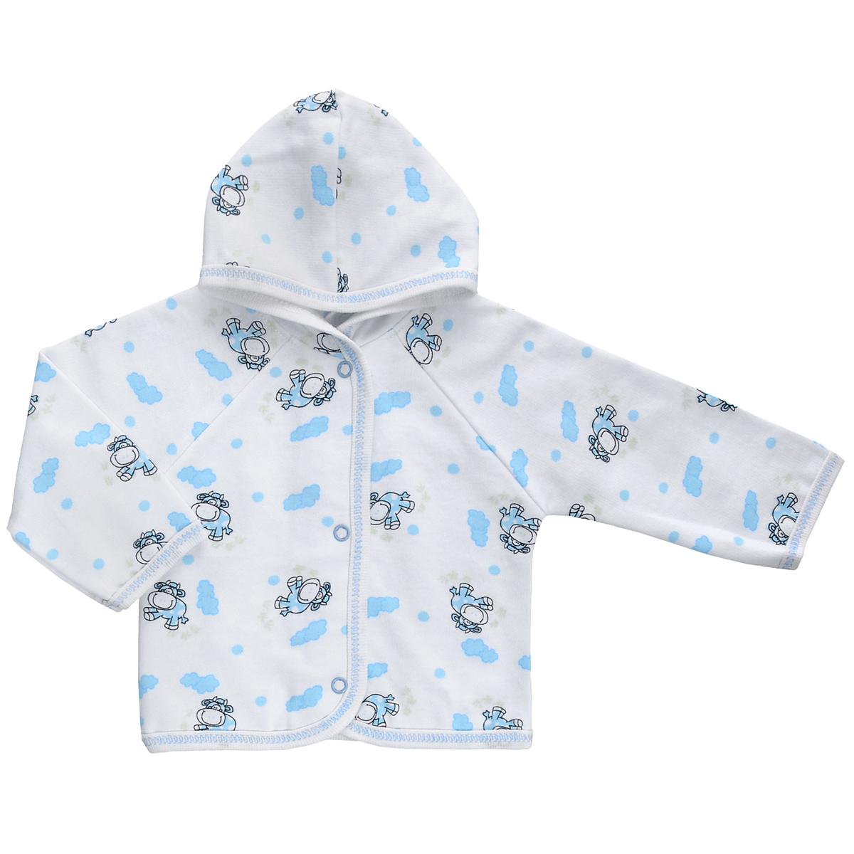 Кофточка детская Трон-плюс, цвет: белый, голубой, рисунок коровы. 5172. Размер 74, 9 месяцев5172Теплая кофточка Трон-плюс идеально подойдет вашему младенцу и станет идеальным дополнением к гардеробу вашего ребенка, обеспечивая ему наибольший комфорт. Изготовленная из футера - натурального хлопка, она необычайно мягкая и легкая, не раздражает нежную кожу ребенка и хорошо вентилируется, а эластичные швы приятны телу малыша и не препятствуют его движениям. Удобные застежки-кнопки по всей длине помогают легко переодеть младенца. Модель с длинными рукавами-реглан дополнена капюшоном. По краям кофточка обработана бейкой и украшена оригинальным принтом.Кофточка полностью соответствует особенностям жизни ребенка в ранний период, не стесняя и не ограничивая его в движениях.