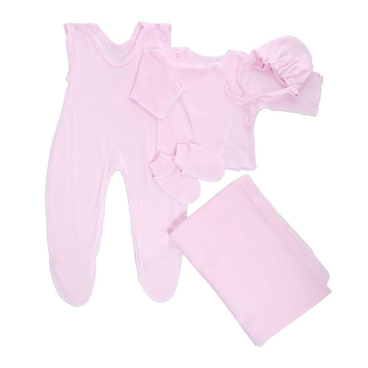 Комплект для новорожденного Трон-Плюс, 5 предметов, цвет: розовый. 7127. Размер 56, 1 месяц7127Комплект для новорожденного Трон-плюс - это замечательный подарок, который прекрасно подойдет для первых дней жизни малыша. Комплект состоит из ползунков с грудкой и закрытыми ножками, распашонки, чепчика, рукавичек и пеленки. Комплект изготовлен из натурального хлопка, благодаря чему он необычайно мягкий и приятный на ощупь, не сковывает движения младенца и позволяет коже дышать, не раздражает даже самую нежную и чувствительную кожу ребенка, обеспечивая ему наибольший комфорт. Распашонка с запахом, застегивается при помощи двух кнопок на плечах, которые позволяют без труда переодеть ребенка. Швы выполнены наружу и обработаны ажурными петельками. Ползунки с закрытыми ножками, застегивающиеся сверху на две кнопочки, идеально подойдут вашему ребенку, обеспечивая ему наибольший комфорт. Подходят для ношения с подгузником и без него. Мягкий чепчик с завязочками защищает еще не заросший родничок, щадит чувствительный слух малыша, прикрывая ушки, и предохраняет от теплопотерь. Дополнен чепчик мягкой эластичной сборкой. Рукавички обеспечат вашему малышу комфорт во время сна и бодрствования, предохраняя нежную кожу новорожденного от расцарапывания. Они дополнены широкой эластичной резинкой. Пеленка станет незаменимым помощником в деле ухода за ребенком. Элементы набора выполнены швами наружу и оформлены ажурными петельками. В таком комплекте ваш малыш будет чувствовать себя комфортно, уютно и всегда будет в центре внимания!