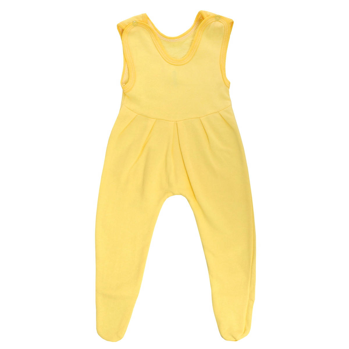 Ползунки с грудкой Трон-плюс, цвет: желтый. 5221. Размер 68, 6 месяцев5221Ползунки с грудкой Трон-плюс - очень удобный и практичный вид одежды для малышей. Ползунки выполнены из футера - натурального хлопка, благодаря чему они необычайно мягкие, тепленькие и приятные на ощупь, не раздражают нежную кожу ребенка и хорошо вентилируются, а эластичные швы приятны телу младенца и не препятствуют его движениям. Ползунки с закрытыми ножками, застегивающиеся сверху на две кнопочки, идеально подойдут вашему ребенку, обеспечивая ему наибольший комфорт, подходят для ношения с подгузником и без него. От линии груди заложены складочки, придающие изделию оригинальность.Ползунки с грудкой полностью соответствуют особенностям жизни младенца в ранний период, не стесняя и не ограничивая его в движениях!
