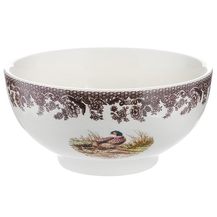 Салатник Lillo, 400 мл. 213462213462Салатник Lillo, изготовленный из высококачественной керамики, прекрасно впишется в интерьер вашей кухни и станет достойным дополнением к кухонному инвентарю. Салатник оформлен коричневой цветочной каймой и рисунком павлинов. Такой салатник не только украсит ваш кухонный стол и подчеркнет прекрасный вкус хозяйки, но и станет отличным подарком. Характеристики:Материал: керамика. Цвет: кремовый. Объем: 400 мл. Диаметр салатника: 14,5 см. Высота салатника: 6,5 см. Размер упаковки: 7,5 см х 15 см х 15 см. Артикул: 213462.