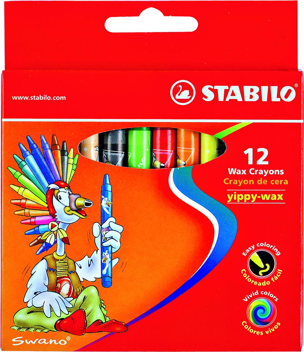 Восковые мелки Stabilo Yippy-wax, 12 цветов2812Цветные восковые мелки отличаются необыкновенной яркостью и стойкостью цвета. Легко смешиваются и позволяют создавать огромное количество оттенков. Очень прочные, не крошатся, не ломаются, не образуют пыли, не нуждаются в затачивании. Каждый мелок в индивидуальной бумажной упаковке. Характеристики:Материал:воск. Диаметр мелка:1 см. Длина мелка:9,3 см. Размер упаковки:10,5 см х 12 см х 10 см. Изготовитель:Малайзия.