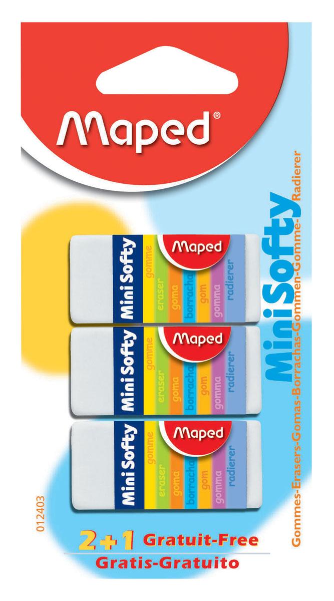 Набор ластиков Maped Мини Софти, 3 шт012403Мини-размер ластика Мини Софти идеален для пеналов. Мягкая структура ластика обеспечивает комфортное стирание. Подходит для стирания карандашей и чернил. В наборе 3 одинаковых ластика белого цвета. Характеристики:Материал: каучук. Размер ластика: 4 см x 1,7 см x 1 см. Размер упаковки: 12,5 см х 6,5 см х 1,5 см.Изготовитель: Китай.