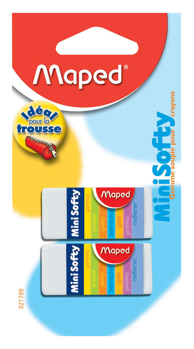 Набор ластиков Maped Мини Софти, 2 шт021789Мини-размер ластика Мини Софти идеален для пеналов. Мягкая структура ластика обеспечивает комфортное стирание. Подходит для стирания карандашей и чернил. В наборе 2 одинаковых ластика белого цвета. Характеристики:Материал: каучук. Размер ластика: 4 см x 1,7 см x 1 см. Размер упаковки: 12,5 см х 6,5 см х 1,5 см.Изготовитель: Китай.