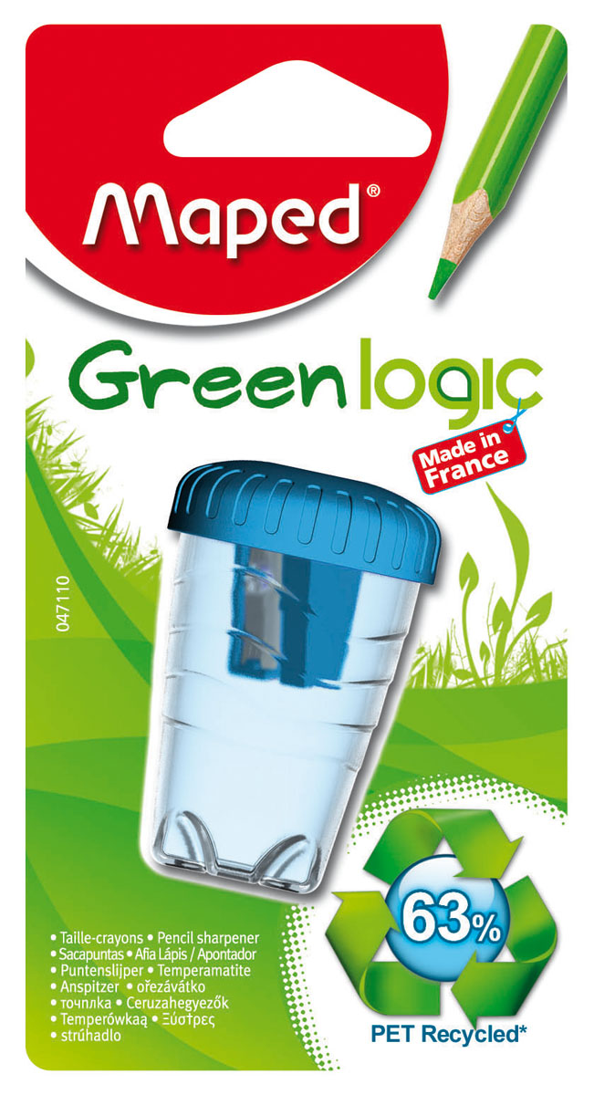 Точилка пластиковая Maped Green Logic, с контейнером, цвет: голубой047110Точилка пластиковая Maped Green Logic - это одинарная эргономичная точилка с контейнером, изготовленная из вторичного пластика (переработанные пластиковые бутылки). Неломающаяся. Имеет экологичную упаковку: блистерная основа на 95% из вторичного картона, а блистерное покрытие из вторичного пластика. Сделано во Франции. Характеристики:Размер: 3 см x 4,5 см x 4,5 см. Материал: пластик, металл. Изготовитель: Франция.