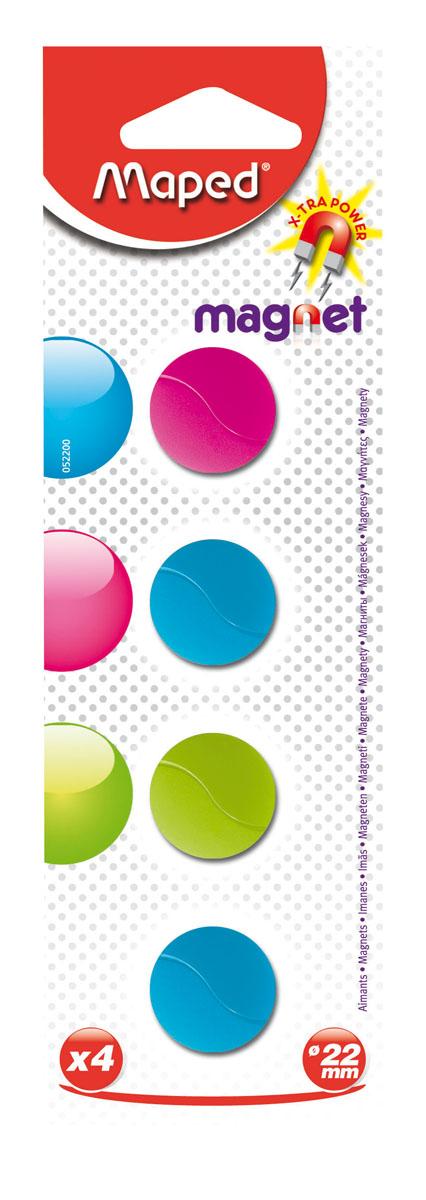 Магниты Maped, цветные, круглые, 22 мм, 4 шт052200Разноцветные сигнальные магниты Maped не позволят потерять важную идею при проведении семинаров, мозговых штурмов или презентаций. Особо сильные и оснащенные цельными ферритными стержнями, они помогут надежно прикрепить листы бумаги на любой железной или стальной поверхности. В наборе магниты бирюзового, розового, салатового цветов. Характеристики:Материал: пластик, магнит. Размер магнита: 2,2 см х 2,2 см х 0,5 см. Размер упаковки: 19 см х 6 см х 0,6 см. Изготовитель: Китай.