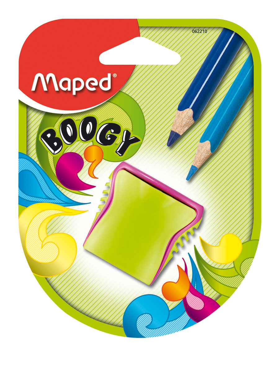 Точилка пластиковая Maped Boogy, 2 отверстия, с контейнером062210Точилка пластиковая Maped Boogy - яркая, оригинальная точилка на два отверстия, с рифленой областью обхвата. Компактная по размеру, изготовлена из неломающихся - ударопрочных материалов. Неотделимый контейнер: потеря исключена. Характеристики:Размер: 3,8 см x 2,5 см x 4 см. Материал: пластик, металл. Изготовитель: Китай.