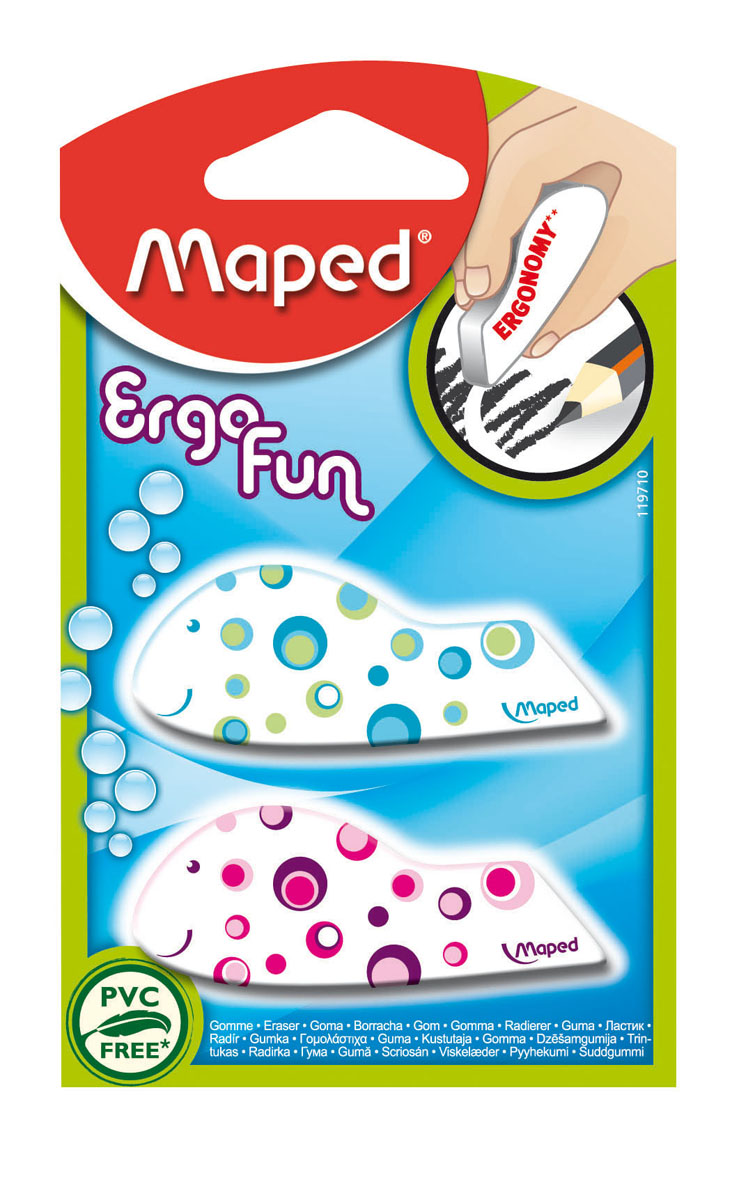 Набор ластиков Maped Ergo fun fancy, 2 шт119710Набор ластиков Maped Ergo fun fancy состоит из двух ластиков затейливых форм и расцветок. Эргономичная форма ластика удобна для детских рук. Точное стирание: простое стирание тонких и широких линий. Ластики в форме забавных животных несомненно привлекут внимание и интерес вашего ребенка к процессу обучения. Характеристики:Материал: каучук. Размер ластика: 5,5 см x 2,2 см x 0,8 см. Размер упаковки: 12,5 см х 7,5 см х 1 см.Изготовитель: Китай.
