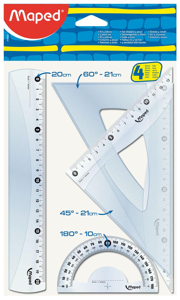 Геометрический набор Maped Старт, 4 предмета. 242820242820Геометрический набор Старт, выполненный из прозрачного пластика сиреневого цвета содержит все, что может понадобиться ученику на уроках математики.Набор состоит из четырех предметов: линейки на 20 сантиметров, транспортира на 180° и двух угольников. Один угольник с углами 45, 45, 90 градусов и линейкой на 14 сантиметров, второй угольник с углами 30, 60, 90 градусов и линейкой на 20 сантиметров. Каждый чертежный инструмент имеет свои функциональные особенности, что делает работу с ними особенно удобной и легкой. Характеристики:Материал: пластик. Размер упаковки: 17,5 см х 30,5 см х 0,3 см. Изготовитель: Китай.