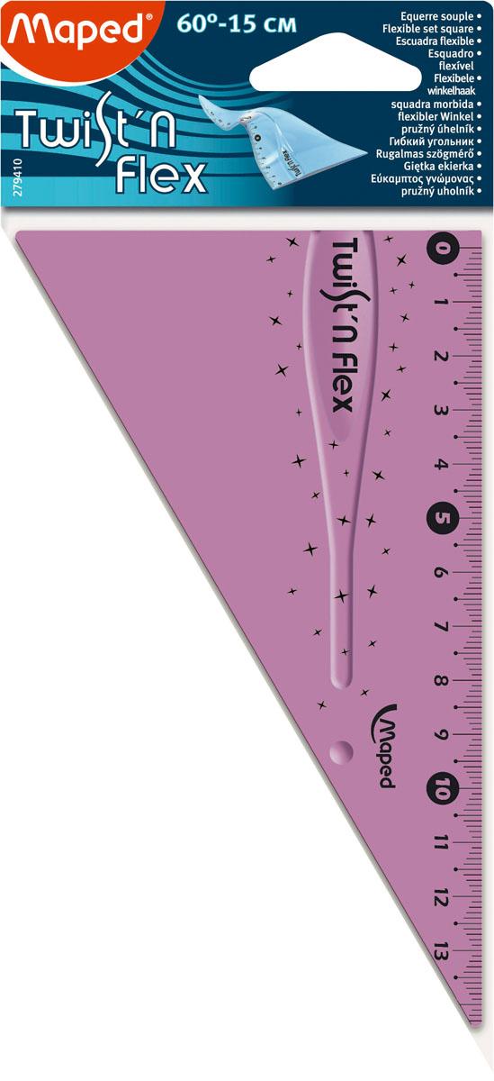 Угольник Maped Twist-n-Flex, неломающийся, 15 см, цвет: сиреневый279410Гибкий неломающийся угольник Maped - это не только необходимый в учебе предмет, но и легкий способ привлечь ребенка к процессу обучения. Выполнен из прозрачного цветного пластика с ровной четкой миллиметровой шкалой делений до 14 см. Характеристики:Длина: 14 см. Угол: 60 градусов.
