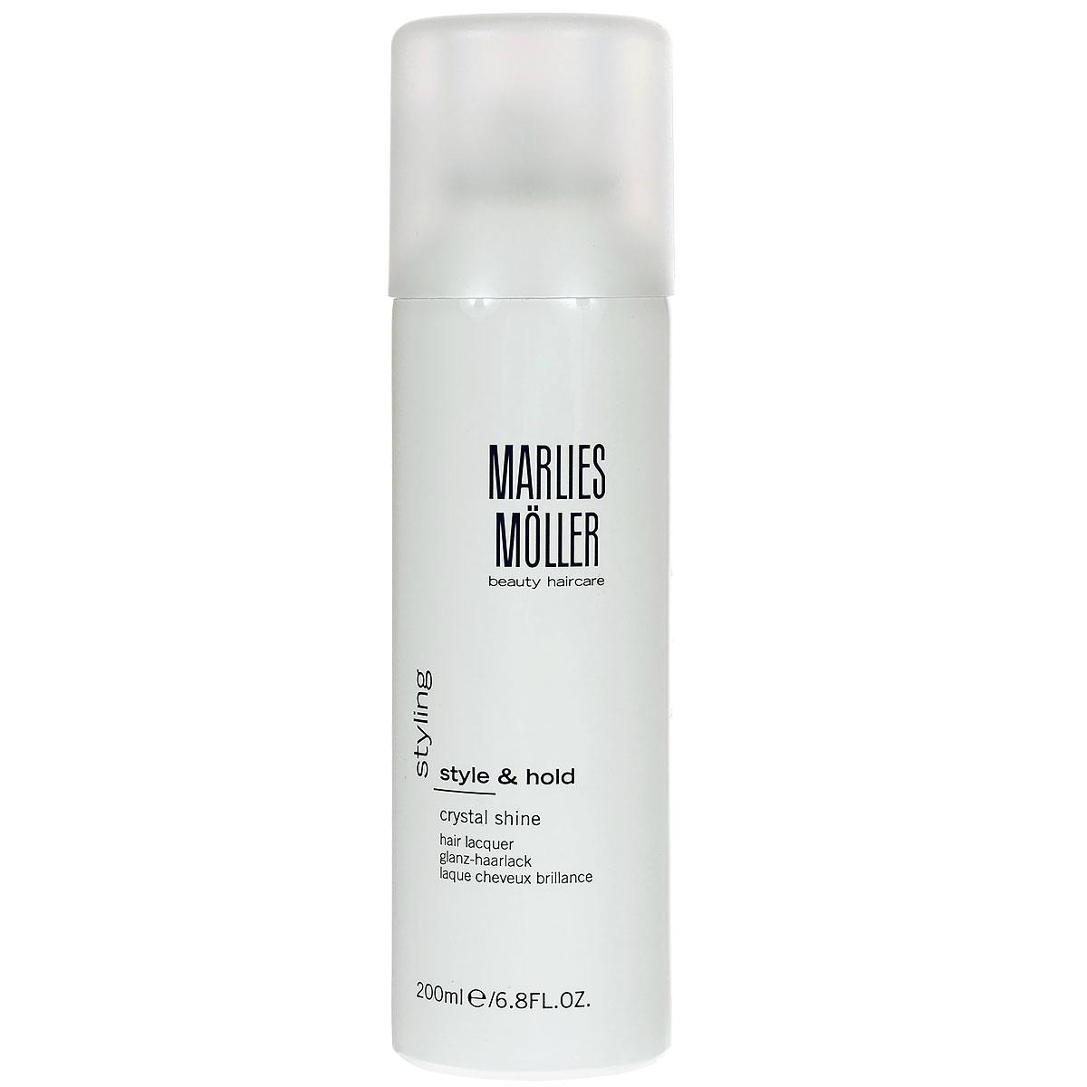 Marlies Moller Лак Styling для волос, кристальный блеск, 200 мл25812MMgЗавораживающее и изящное завершение укладки. Сухой лак обеспечивает превосходную фиксацию, благодаря мелкодисперсному аэрозолю быстро сохнет и чётко фиксирует. Ультра сильная фиксация без потери объема. Легко удаляется с волос. Профессиональный стайлинг для сияющего блеска волос. В составе - хрустальная пудра, которая дает искрящийся блеск, отражает свет и придает прическе ультра глянцевое сияние. Лак защищает волосы от влажного воздуха. UV-защита.Завершая укладку, нанесите лак, держа флакон на расстоянии 20-30 см.